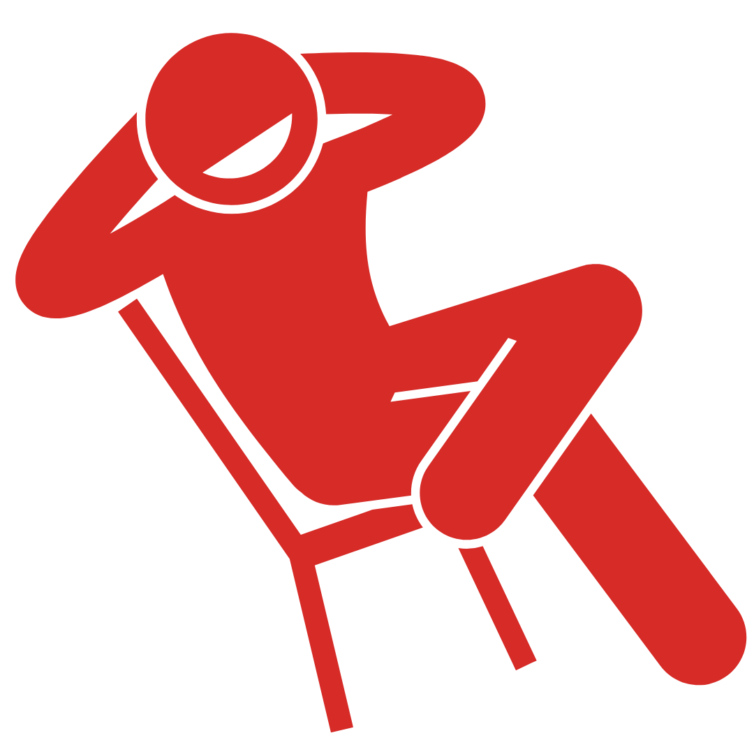 a stick figure laying back on his chair